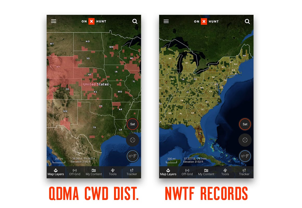 Screenshot of onX Hunt App QDMA CWD Layer and NWTF Turkey Records Layer.