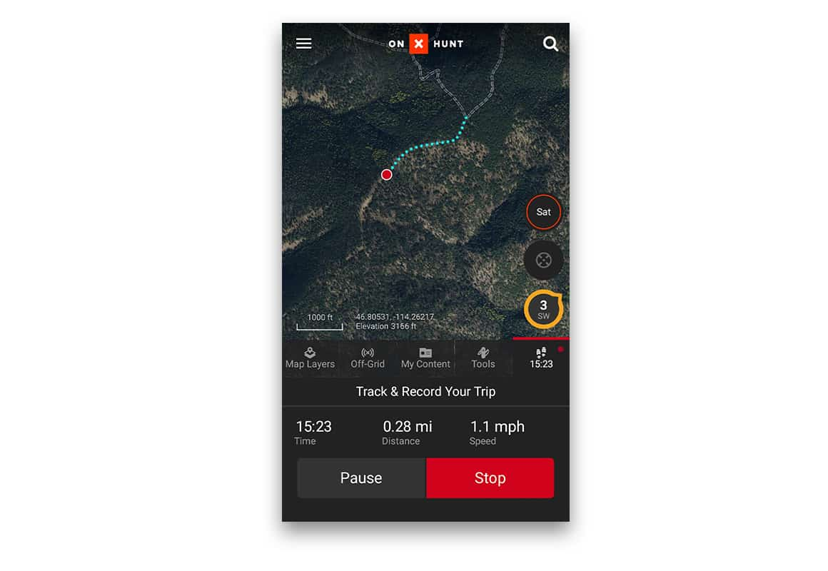 Screenshot of the onX Hunt App with the Tracker recording