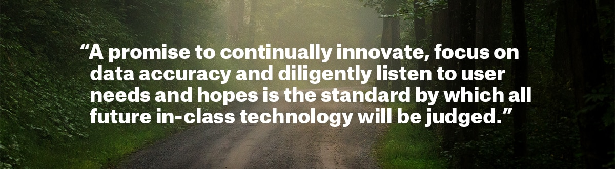 Promise quote block stating we will continuously innovate, focus on land ownership data accuracy and diligently listen to user needs and hopes which is the standard by which all future in-class technology will be judged.