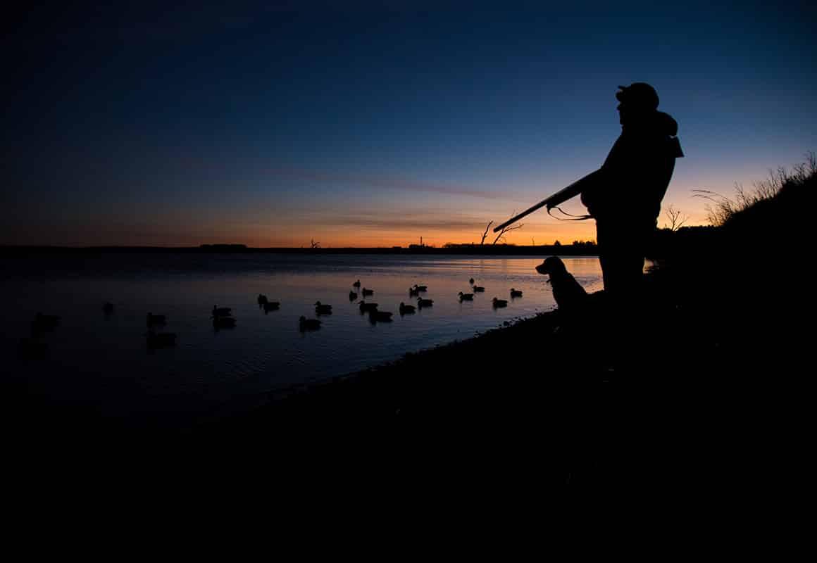 onX pro-staffer Sam Soholt duck hunting in South Dakota on a cold November morning.