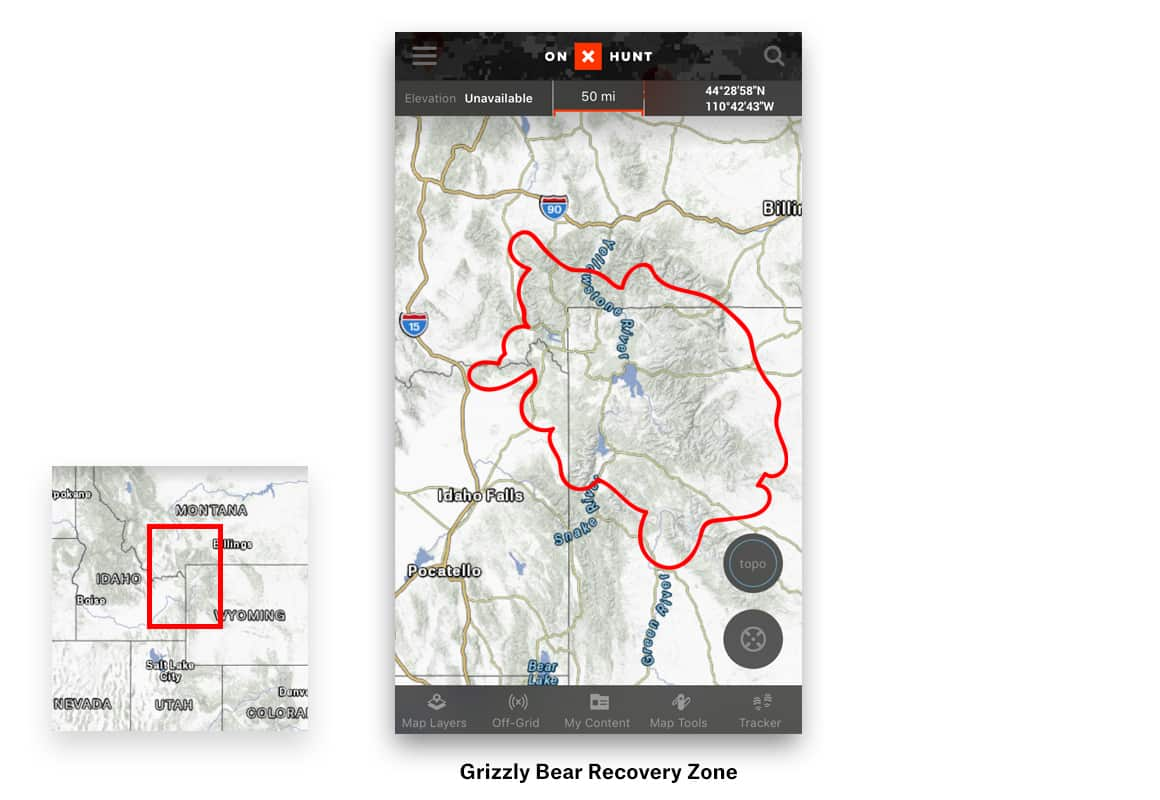 Grizzly Bear Recovery Zone on onX Hunt Hunting App