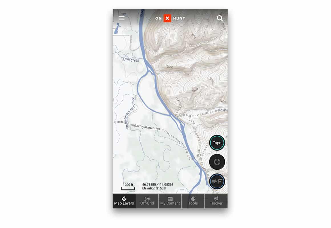 onX Topo Basemap topographic imagery
