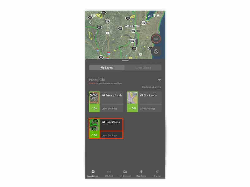 Wisconsin hunt zones layer on the onX Hunt mobile app