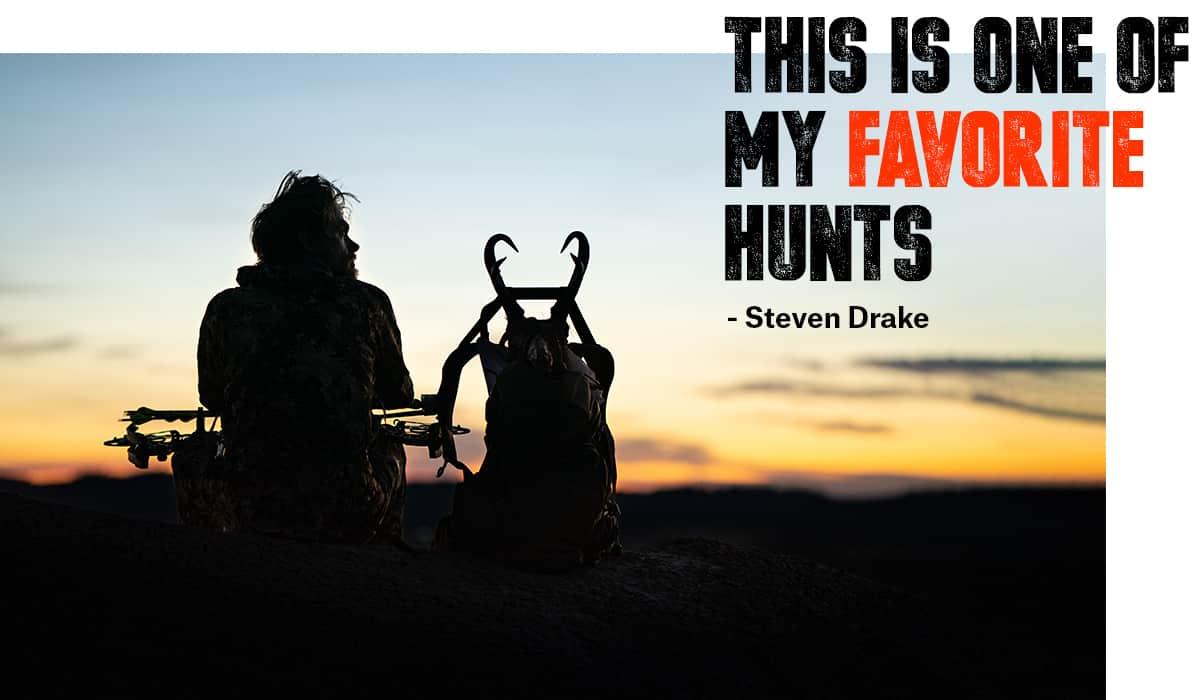 Hunter and photographer Steven Drake at sunset hunting antelope in Montana.