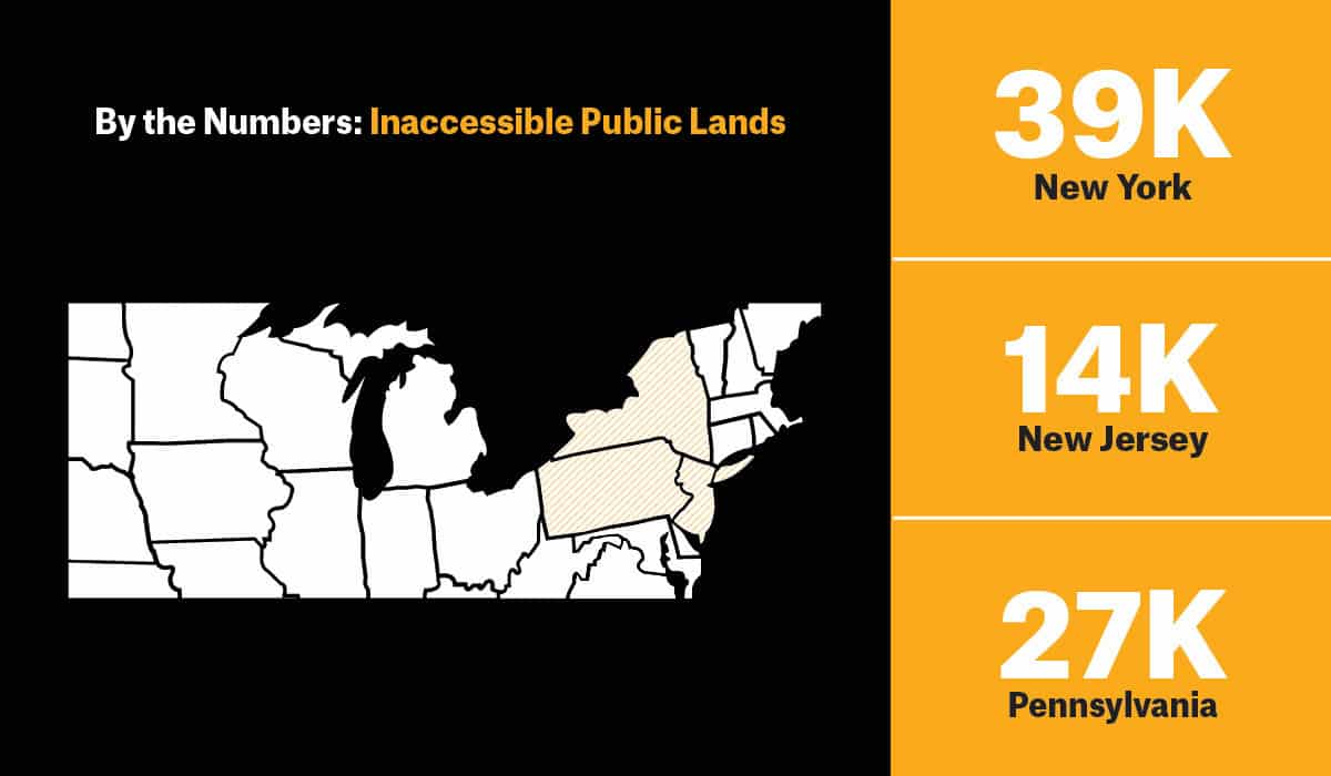 Graphic showing landlocked public land in New York, New Jersey, and Pennsylvania, on report by onX and TRCP.