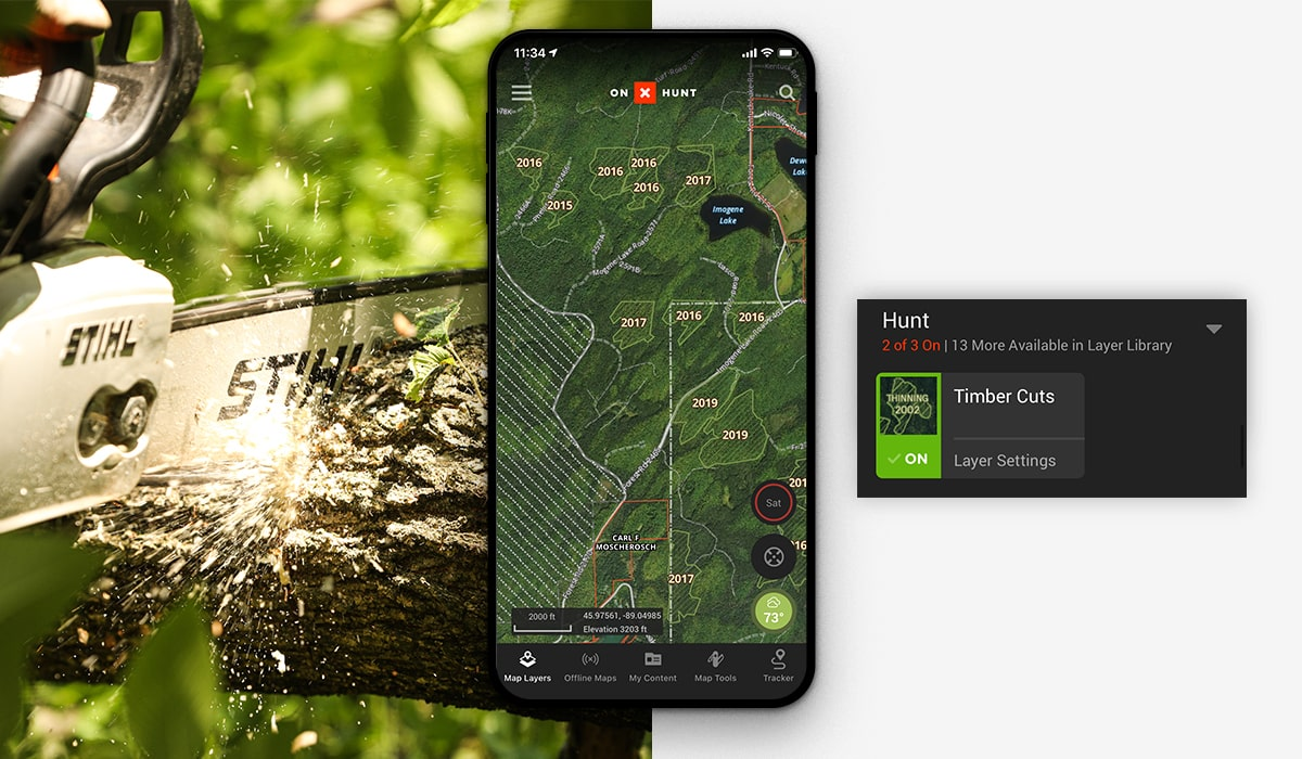 onX Hunt Timber Cuts Layer.