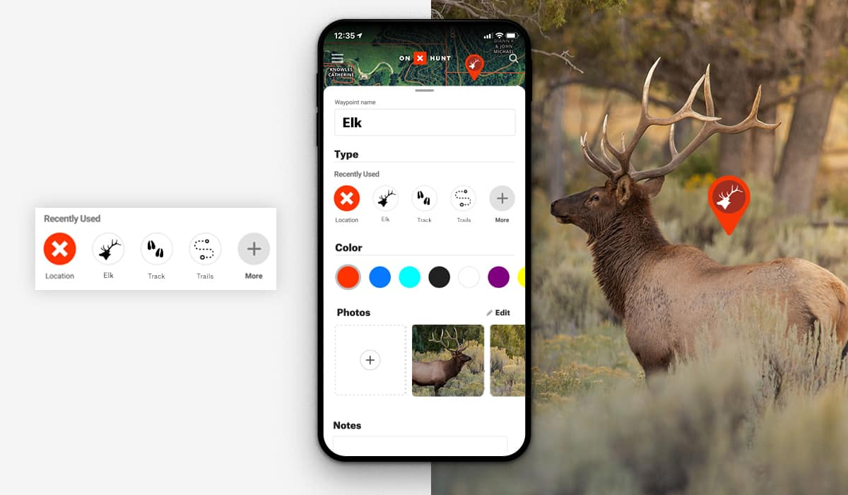 onX Hunt App allows you to create and customize a Waypoint to mark a spot or location while hunting.