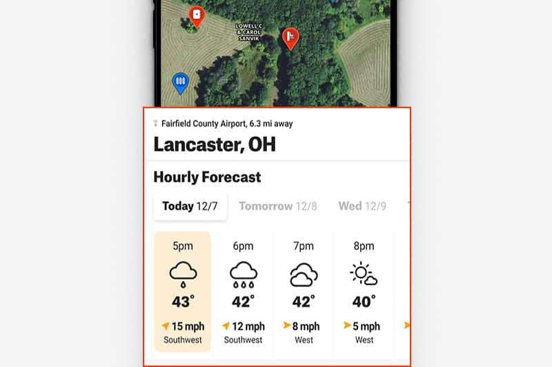 Weather card of Hunt App pulled up on phone screen