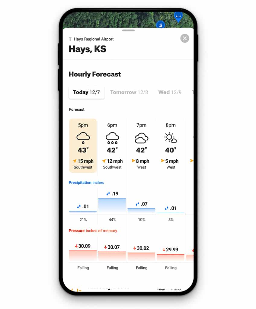 onX Hunt App with full Weather card pulled up show barometric pressure and precipitation.