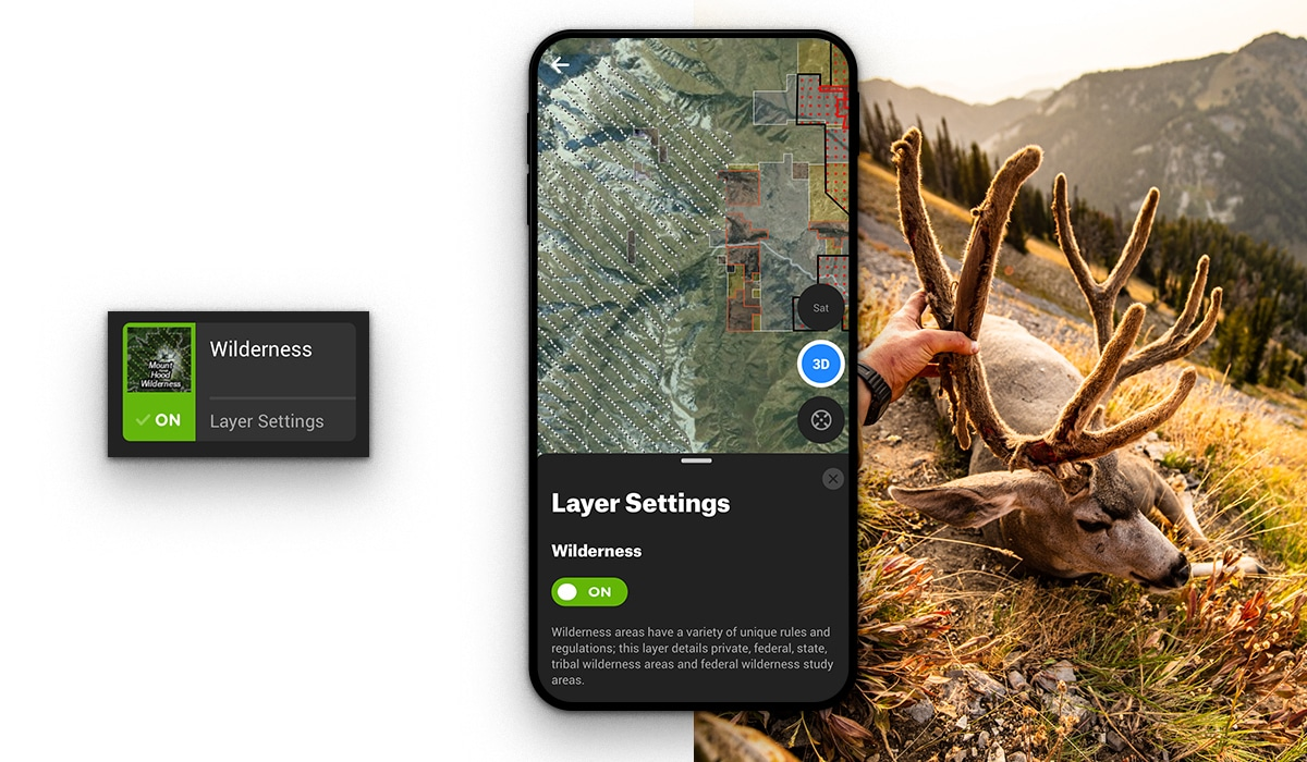 The onX Hunt App Wilderness Layer helps a hunter find success in a backcountry mule deer hunt.