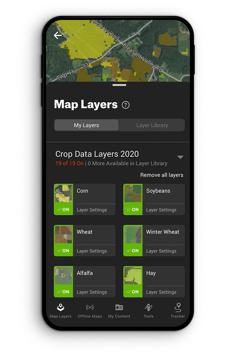 onx crop layer map features