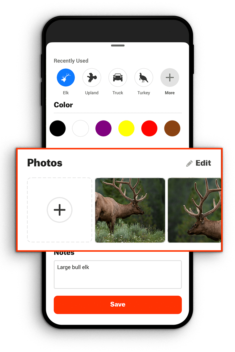 add photos or notes to waypoint