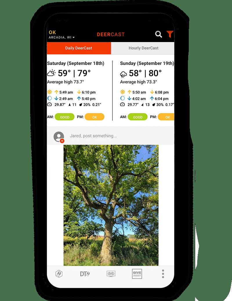 Deercast in the onX Hunt Elite App