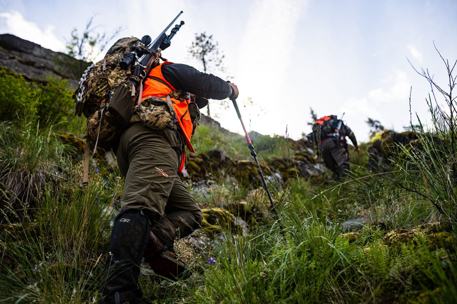 Hunters navigating in the backcountry