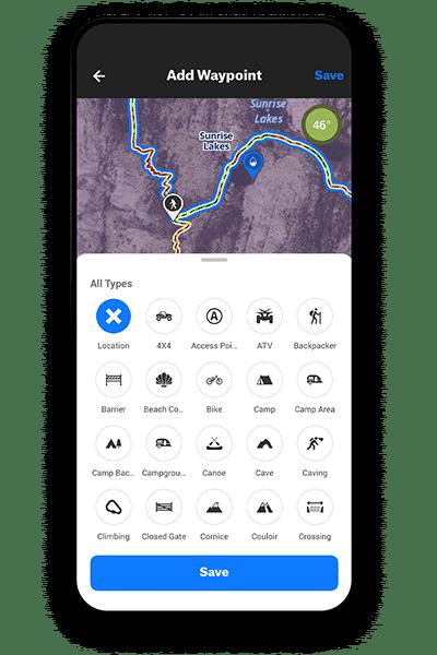 onX Backcountry custom waypoints