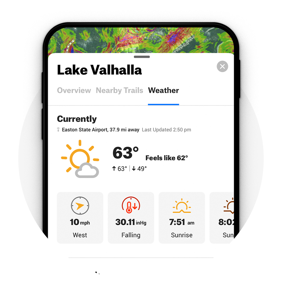 Snowshoe App wind and weather